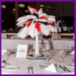 LOWESTOFT WEDDING HIRE WEDDING DAY GOALS NORFOLK SUFFOLK VEGAS WEDDING OSTRICH CENTRE PIECE FEATHERS RED BLACK WHITE DIAMONDS TABLE NUMBERS GLASSES PLATES NAPKINS ROOKERY PARK GOLF CLUB