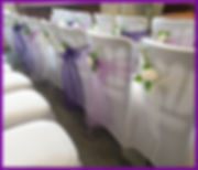 CHAIR COVERS LOWESTOFT WEDDING HIRE ORGANZA CHAIR COVERS RUSTIC HESSIAN SASHES LACE SUFFOLK NORFOLK CHAIR SASHES WEDDING GOALS LILAC PURPLE WHITE ROSES GREAT YARMOUTH TOWN HALL