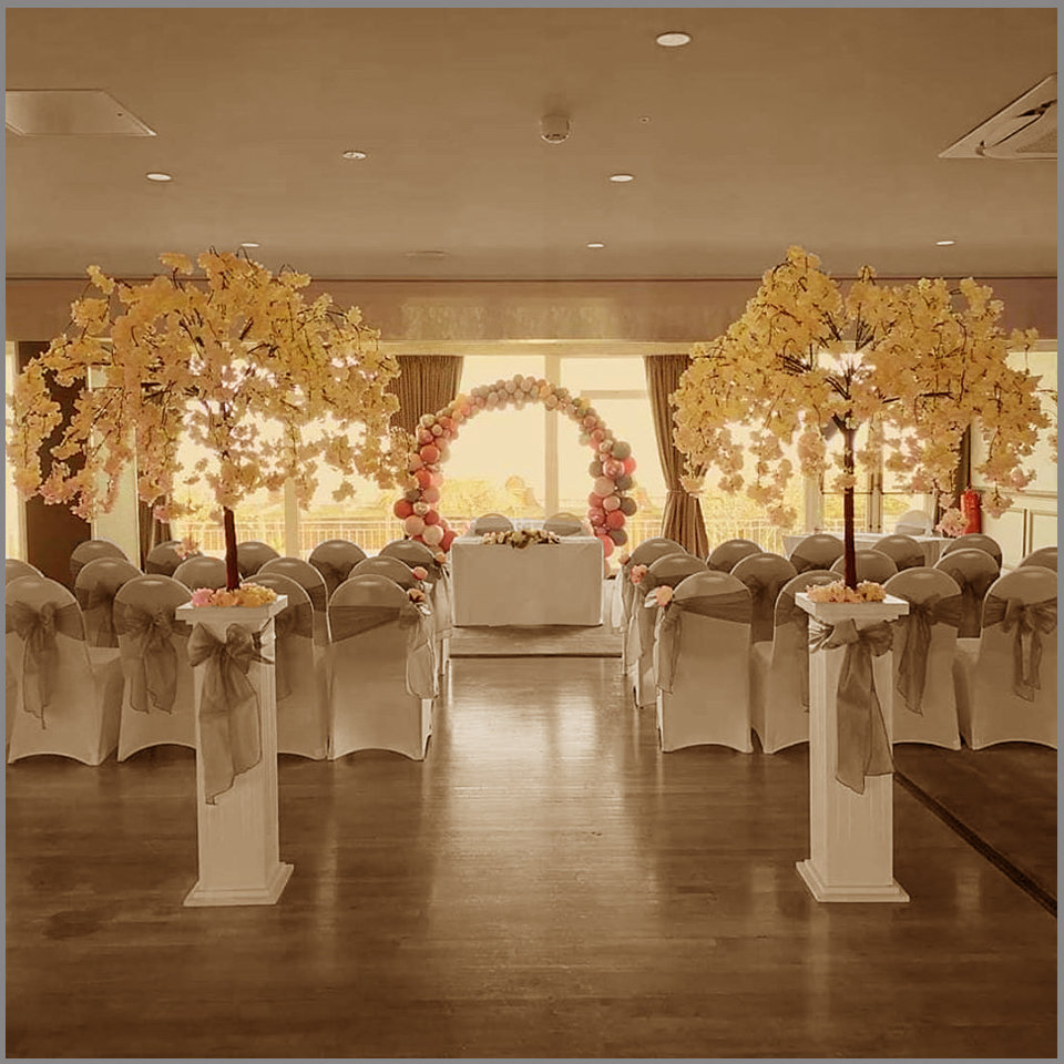 LOWESTOFT WEDDING HIRE, THE HOTEL VICTORIA LOVWESTOFT WEDDING, SPRING WEDDING BLOSSOM TREES CHAIR COVERS AND SASHES GREY WEDDING BALLOON ARCHES PERFECT WEDDING DAY NORFOLK AND SUFFOLK WEDDING VENUE