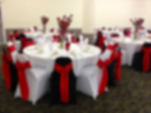 black red white wedding, chair covers, red wedding, flowers,