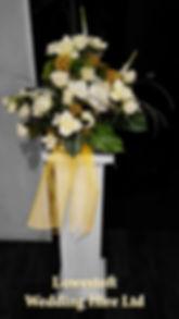 lowestoft wedding hire, venue dressing, party decorations, wedding hire, suffolk weddings, norfolk weddings, lowestoft bowls and railway club, gold wedding, wedding hire, yellow wedding, white columns, flowercolumns, classic wedding, green leaves,