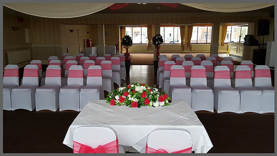 lowestoft wedding hire, beccles weddings, great yarmouth weddings, suffolk weddings, norfolk weddings bride to be suffolk and norfolk, hotel victoria lowestoft, top table flowers, chair covers, chair sashes, ruby wedding, red wedding, candy cart, bay trees