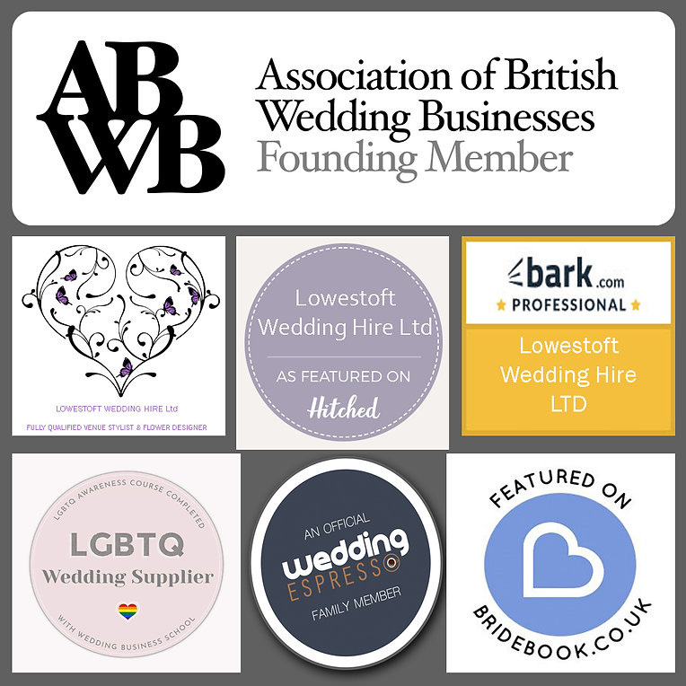lowestoft wedding hire, bark professional, as featured on hitched, hitched weddings, lgbtq wedding supplier, love is love, wedding expresso family, bride book, as featured on bride book, guide for brides, winners