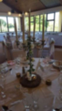 lowestoft wedding hire suffolk norfolk candelabra ivy roses table runners rustic hessian lace wedding candles chaircovers sashes golf club  rookery park tealight holdersglasses bubbles table settings