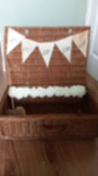 wicker card case, postbox, wedding postbox, wishing well, lowestoft wedding hire