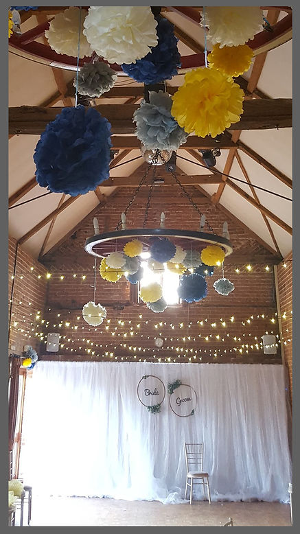 LOWESTOFT WEDDING HIRE, PARK HILL HOTEL LOWESTOFT, WEDDING DAY GOALS, FAIRY LIGHT WEDDING, HANHING LANTERNS, POM POM WEDDING, BARN STYLE WEDDING, NORFOLK WEDDING VENUE, SUFFOLK WEDDING VENUE