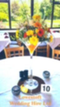 lowestoft wedding hire, lowestoft events, suffolk wedding, norfolk wedding, venue dressing, party decoration, fresh flowers, wedding flowers, orange wedding, yellow wedding, table setting, mirror plate, rookery park golf club, water beads,