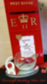 ped post box, wishing well, lowestoft wedding hire, venue dressing, party decorations, table numbers, mirror plate, red roses, fish bowl, centre piece, red and gold wedding, love. table gems,