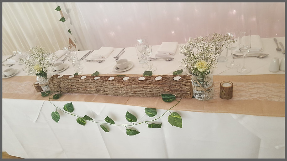 lowestoft wedding hire, ivy house country hotel, suffolk wedding venue, norfolk wedding venue, rustic wedding, barn wedding, top table display, centre piece, hessian
