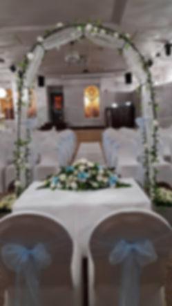 wherry hotel, lowestoft wedding hire ltd, suffolk weddings, chair covers, baby blue wedding, wedding arch, top table flowers, beautiful wedding, orchid wedding flowers