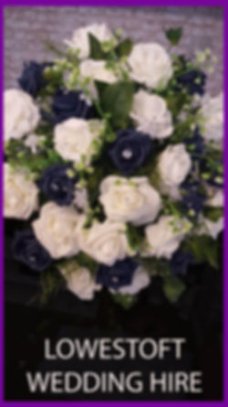 LOWESTOFT WEDDING HIRE ARTIFICIAL FLOWERS FOAM ROSES FOAM FLOWERS PLASTIC BOUQUET BRICJ WALL NAVY WEDDING NAVY ROSES BLUE WEDDING WHITE ROSES SILVER WEDDING DAY SILVER FLOWERS GYP FOLIAGE NORFOLK WEDDING SUFFOLK WEDDING WEDDING GOALS