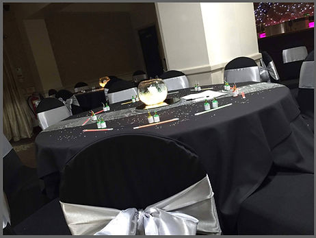 lowestoft wedding hire, the victoria hotel lowestoft, prom day, proms parites and weddings in norfolk and suffolk, glow sticks, fish bowls, chair covers, black chair covers, silver wedding, casino evening, rood dressing for every occasion norfolk and suffolk