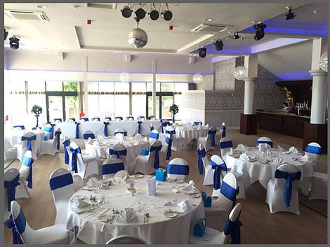 lowestoft wedding hire, the wherry hotel, silk sashes, hair sashes, royal blue wedding, oulton broad, room with a view, the broads, waveney wedding, bay trees, centre pieces, sit down meal, suffolk brides, norfolk bride, east anglia weddings, venue styling, venue dressing