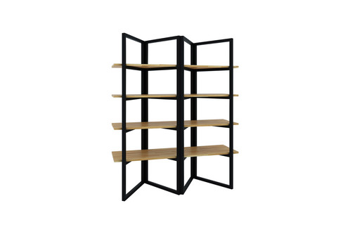 Foldable Metal Frame Shelving Unit With Rubber Wood Shelves Available In Two Colors Photo Color 1 Natural