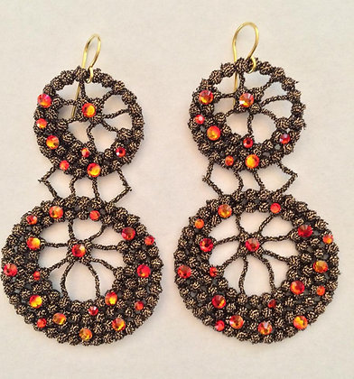Macrame' earrings with Swarovski crystals