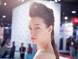 Nelson models for brand Aquage at ISSE in Long Beach