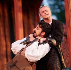 Guildenstern (Shaan Sharma) and Hamlet (Genevieve Simon)