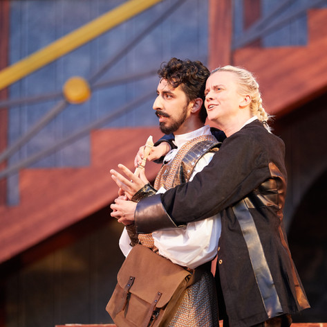 Guildenstern (Shaan Sharma) and Hamlet (Genevieve Simon)