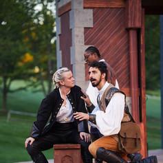Hamlet (Genevieve Simon), Rosencrantz (Tolu Ekisola), and Guildenstern (Shaan Sharma)