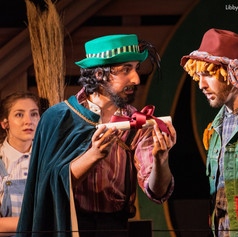 Dorothy (Libby Zabit), The Wizard of Oz (Shaan Sharma), and Scarecrow (Michael Vine)