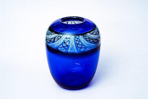 Blaue Vase Fadentechnik Hubert Hödl