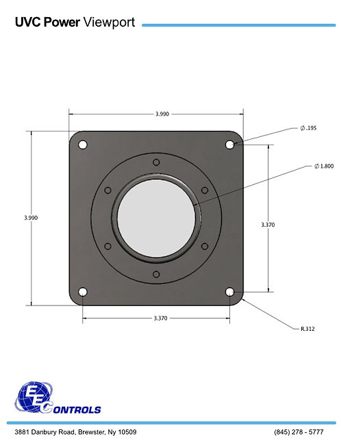 UVC Glass Viewport - Stainless Steel (Includes Gasket & Hardware)