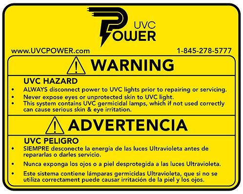 """5"""" x 4"""" UVC WARNING Label - English & Spanish"""