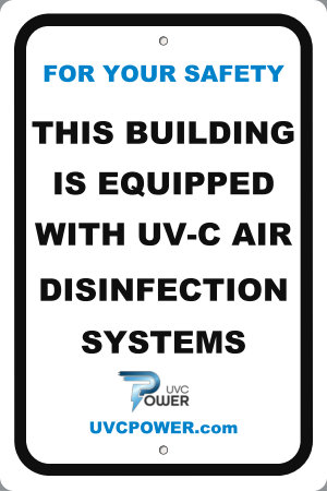"12"" x 18"" UVGI Aluminum Sign (Protected By UVGI)"