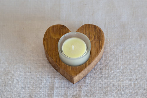 French Oak Heart Candle Holder