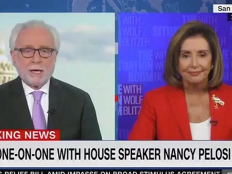 Pelosi lashes out at CNN's Blitzer as GOP 'apologist' during testy exchange on stalled COVID stimulu