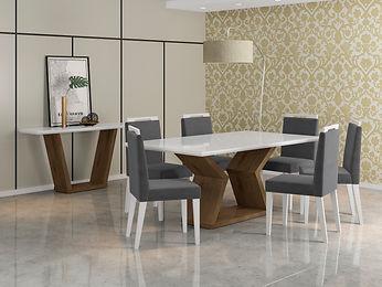 Mesa Lia_Branco-Castanho + Cadeira Alana