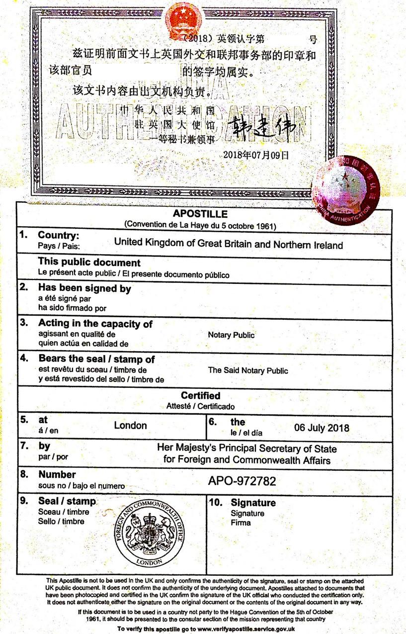 Legalised Documents