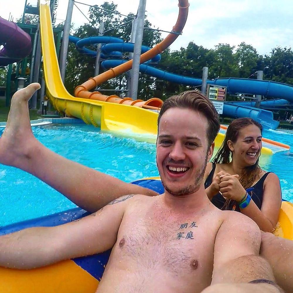 Having fun at the Palatinus Strand Baths!