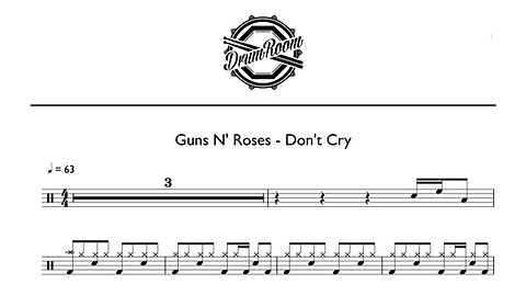 Guns N' Roses - Don't Cry - drum sheet m