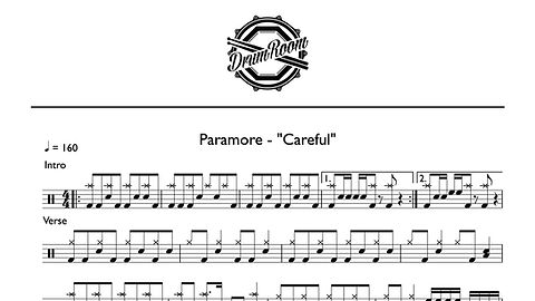 Paramore - Careful - drum sheet music.jp