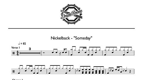 Nickelback-Someday - drum sheet music-1.