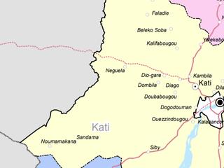 kaart Mali met departement Neguela