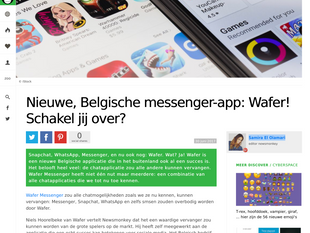 Wafer featured on Newsmonkey in Dutch and French versions!