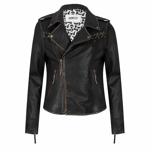 "ICONIC27 ""Rub Off"" Leather Biker Jacket"