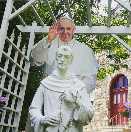 Pop Up Pope with statue of St. Francis at St. Francis of Assisi school, Springfield, PA