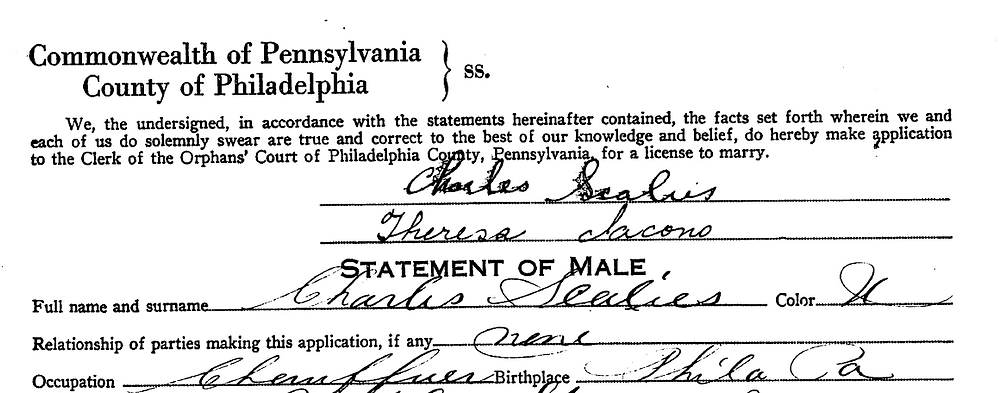 My grandfather's marriage license from 1929