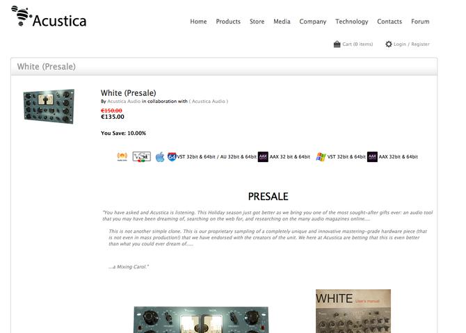 Acustica Audio WHITE presale. You save 10% OFF