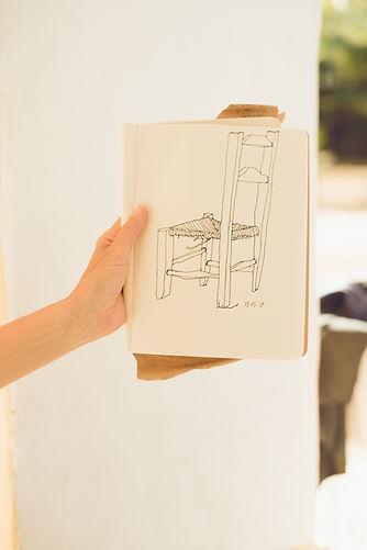 hand drawn sketch of chair by Trine Pettigrew