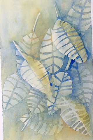 watercolour painting of leaves by Trine Pettigrew