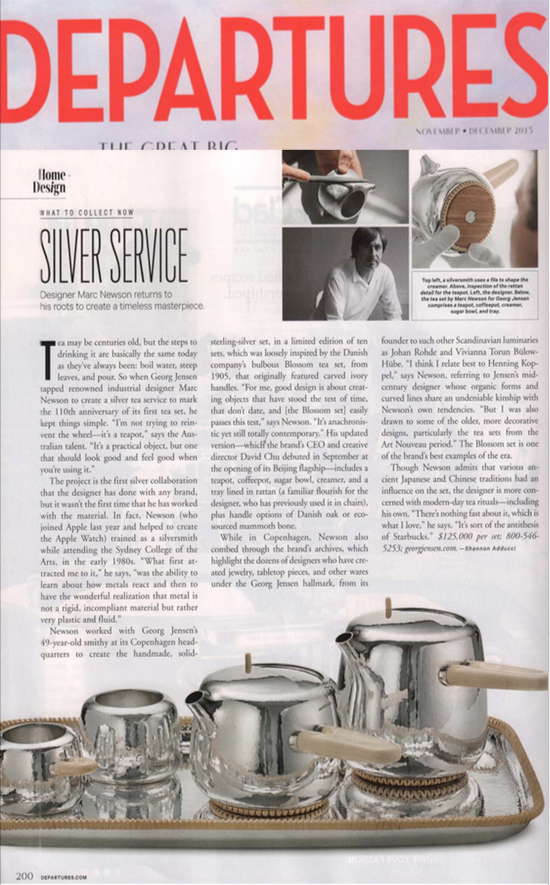 Marc Newson for Georg Jensen feature in Departures