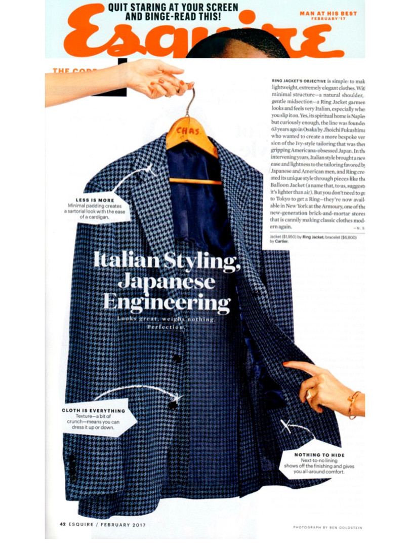Ring Jacket feature in Esquire