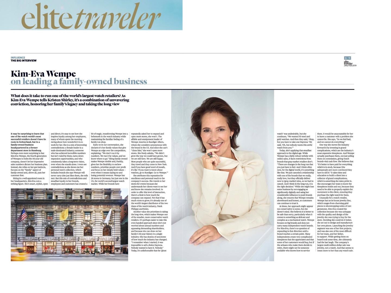 Wempe executive profile in Elite Traveler