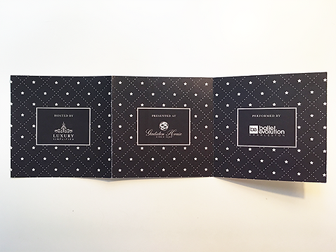Back of invitation designed for ballet evolution