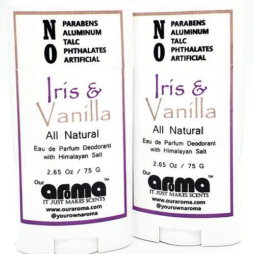 Our Aroma Iris & Vanilla  2.65 Oz All-Natural Deodorant Set of 2