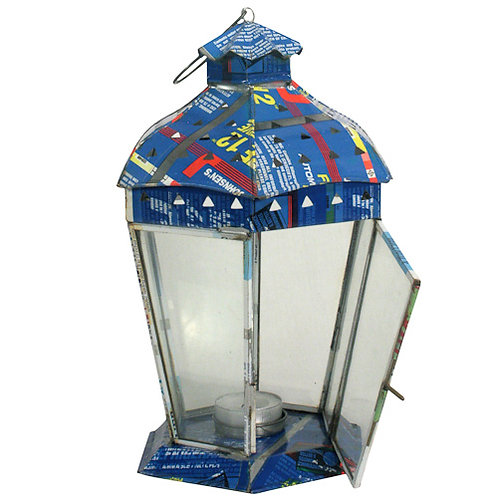 Small Recycled Metal Candle Lantern w/ 6 Sides